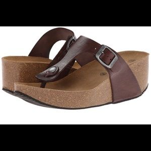 Cute Leather & Cork Wedge Thong Sandal 39 9